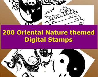 Oriental Nature Theme Digital Stamp Collection, printing Card Making