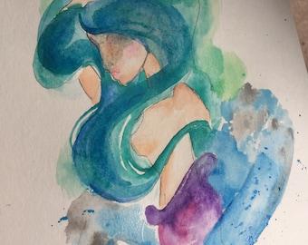 Mermaid watercolor original