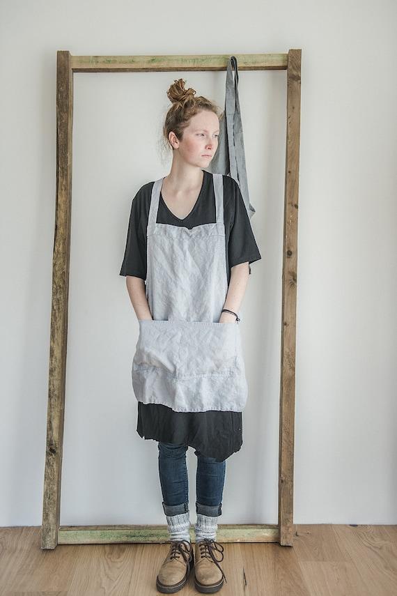 short square cross linen apron japanese style apron washed. Black Bedroom Furniture Sets. Home Design Ideas