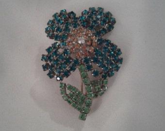 Floral Rhinestone Swarski Brooch