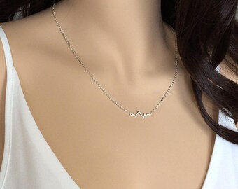 Heartbeat Necklace, Sterling Silver Necklace, UK Shop, Cardiogram Heartbeat Necklace