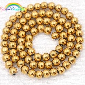 Gold Hematite Beads, Gold beads, Gold Gemstone Beads, Natural Hematite Beads, Round Natural Beads, 5-40pcs. 4mm 6mm 8mm 10mm 12 mm