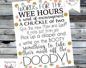 Words for the Wee Hours - Baby Shower Activity - Digital Download