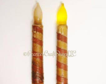 Candy Cane Timer Taper Candle, LED Battery Operated Candles, Primitive Country Candles