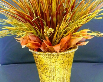 Grass arrangement in olive green and rust