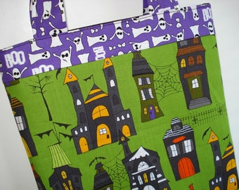 CLEARANCE Haunted Houses Halloween Tote Bag: Ghosts, Trick-Or-Treat.