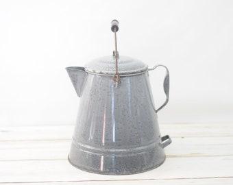 Large Gray Graniteware Agate Coffee Pot Cowboy Enamelware Coffee Pot #2