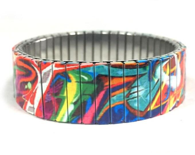 Graffiti art bracelet, Urban Art, Stainless Steel, Repurpose Watch Band, Stretch Bracelet, Wrist Band, Sublimation, gift for friends