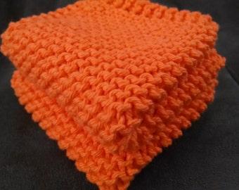 Orange Knit Dish Cloth, Orange Knit Dishcloth,  Orange Knit Wash Cloth, Set of 2