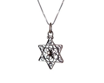 Dainty Star Of David Necklace Sterling Silver Pendant Kabbalah Jewellery  Filigree Design Handmade Free delivery + Gift Boxed D1