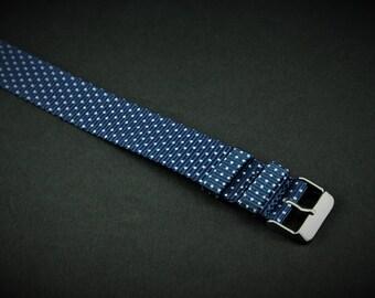 Blue Polka Dot Slip Thru Nylon Watch strap - 20mm Timex Weekender Seiko