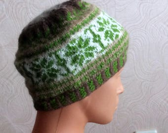hand knitted winter hat, unisex patterned hat, wool beany, green patterned beany, warm hat, girls accessories, men hat, beautiful patterned