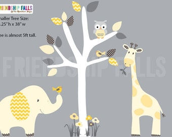 nursery Jungle Decal, elephant Wall Decal, giraffe decal, Nursery Wall Decal, Friendship Falls XXL Branch Tree Set - Banana Chevron Scene