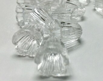 Vintage Lucite Clear Dyeable Bell Flower or Caps Set of 50 - Bead Caps, Bead Cones, Fairy Garden, Beading, Embellishments, Miniatures