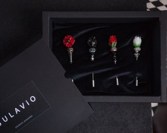 SET 4 PINS - Brooch, Lapel pins - Grooms boutonniere -  tie pins - Flowers (Clear Black), gifts for him