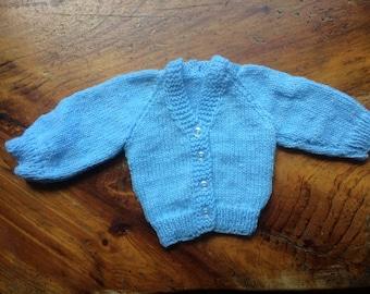 Baby Blue V Neck Newborn Sweater