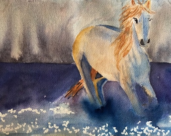Original Watercolor Painting, White Horse Painting, Office Decor, Horse Decor, Fantasy Stallion, Bedroom Decor, Nursery Decor
