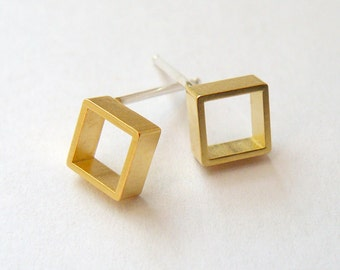 Gold Square Earring Studs - Tiny Geometric Jewelry - Gold Stud Earrings - Small Open Square Earrings - Handmade in NYC - Hook and Matter
