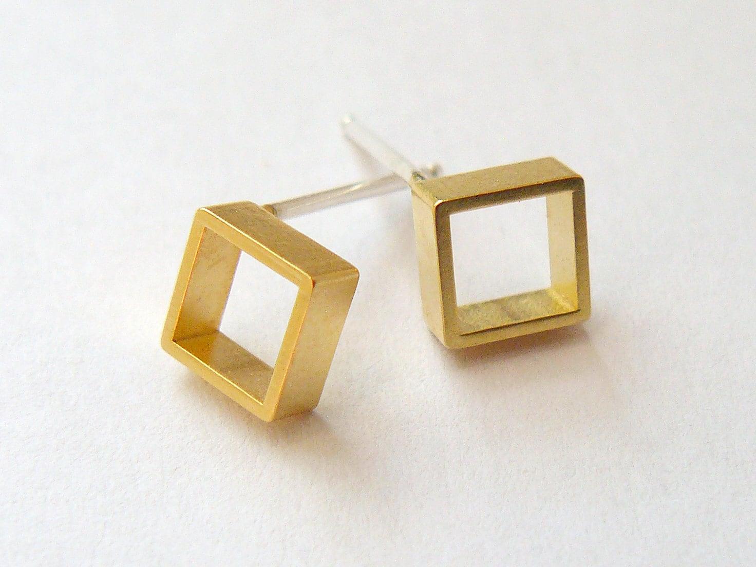 Gold Square Earring Studs Tiny Geometric Jewelry Gold Stud