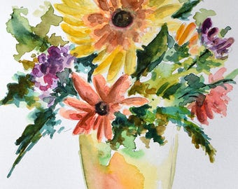 Original Watercolor Painting, Wild Flower Bouquet, Sunflower Painting 6x8 Inch