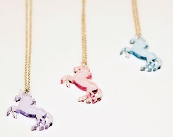 Unicorn Necklace. Laser Cut Necklace. Unicorn Pendant. Pastel Unicorn. Clear Pastel Acrylic. Horse with a Horn. Mythical Creature Pendant.