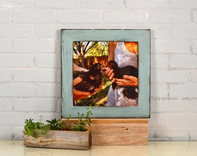 """12x12"""" Square Picture Frame in 2.25 inch wide Reclaimed Redwood Style with Vintage Homestead Finish - IN STOCK Same Day Shipping - 12 x 12"""