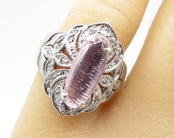 925 silver - faceted pink stone & white cubic zirconia ring sz 8 - r1109