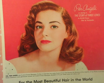 Vintage Shampoo Advertisement -  Lustre Creme - 1950s Hollywood Actress - Pier Angeli