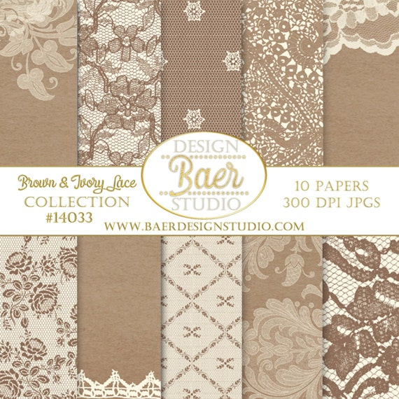 DIGITAL BACKGROUNDBrown Lace Digital Paper Brown And Ivory Rustic Wedding Thanksgiving