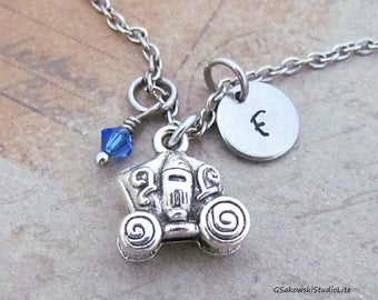 Cinderella Carriage Charm Necklace, Personalized Antique Silver Hand Stamped Initial Monogram Pumpkin Carriage Necklace