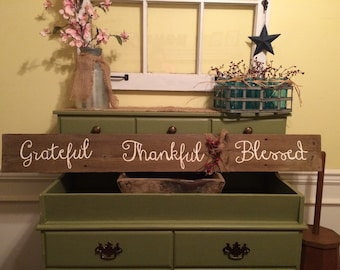 Rustic Grateful Thankful Blessed Sign