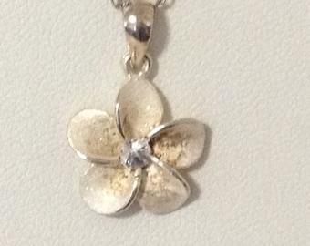 "Hawaii Plumeria Flower Pendant Necklace 925 Sterling Silver CZ 16"" gw16-178"