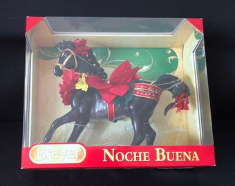 """Breyer Noche Buena Holiday Horse / Christmas / Poinsiettas /  Hand Painted Gold Lettering """"Season's Greetings"""""""