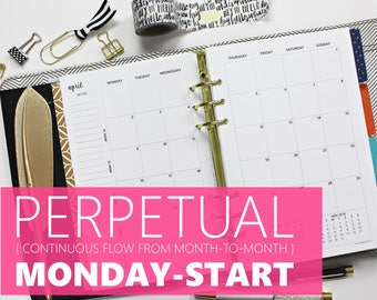 "Printed Monthly Inserts PERPETUAL, MONDAY-START: 12-Months & 2 Annual Calendars, MO2P (Half-Letter Size 5.5""x8.5"" - fits into A5 planners)"