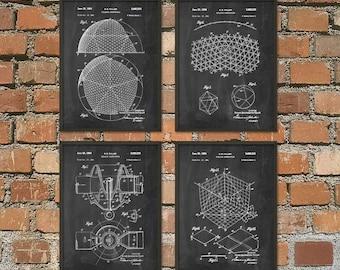 Buckminster Fuller Patent Print Set of 4 - Buckminster Fuller Building Design - Architecture Geodesic Dome Patent - Architectural Biosphere