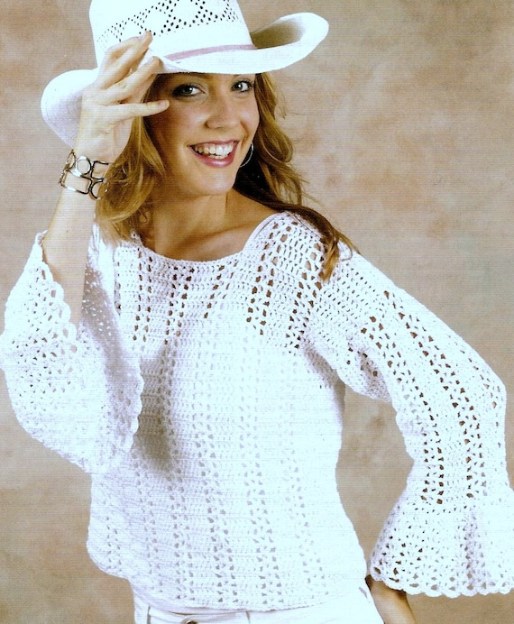 Vintage Crochet Pattern Summer Sweater Lace Beach Cover Up Pullover