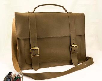 Genuine leather messenger bag / satchel / shoulder bag / briefcase