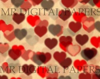 Heart Background / 14x18 / Scrapbook Paper / Heart Paper / Valentines Paper / Antique Heart / Digital Instant Download / Valentine Print