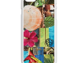 iPhone 6s/6, iPhone 6s/6 Plus Case, TROPICAL SEAS, Hawaii, iPhone 6s, Pineapples, Hibiscus, Aloha, Collage, Avail. Black or White case color