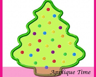 Instant Download Silhouette Christmas Tree with Ornaments Machine Embroidery Applique Design 4x4, 5x7 and 6x10