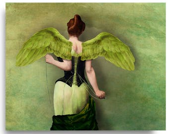 Winged Bird Angel Dove Wings Print Digital Art Blue Green Surreal Home Decor Sage Corset