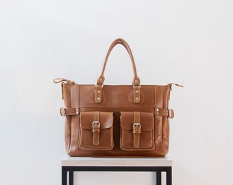 DIANA - Leather tote bag with pockets, TAN BROWN leather diaper bag, leather shopping bag, leather bag for teachers, genuine leather bag