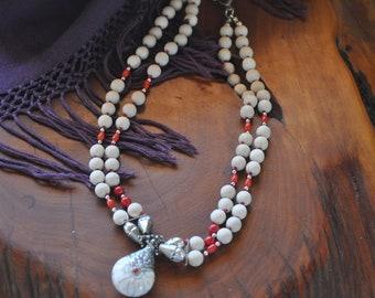 16SP124 Handbeaded Wood and Beads Necklace with Tibetan Pendant