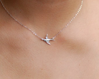 Silver bird. Sterling silver bird necklace, bird in flight necklace, linked bird necklace, bird necklace, gift