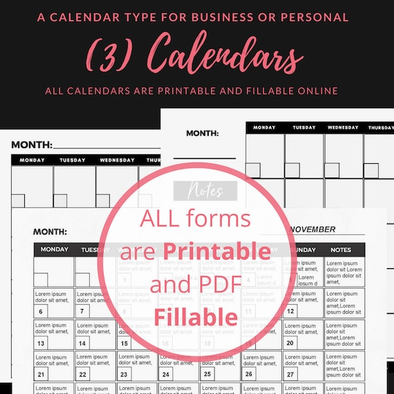 3 monthly calendar templates fillable printable black n