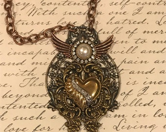 Heart Necklace, Steampunk, Steampunk Jewelry, Steampunk Necklace, Unique Gift, Gothic, Neo Victorian, Art, One A Kind, Women's Necklace