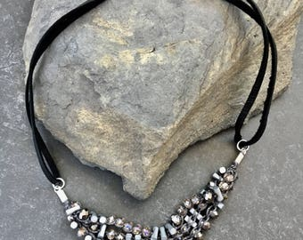 Lava Stone Choker Necklace, Silver and Black Necklace, Essential Oil Jewelry, Diffuser Choker, Leather Cord, Multistrand Choker
