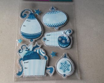 x 3 sticky tags + 5 stickers glittery Blues silver 3D stickers