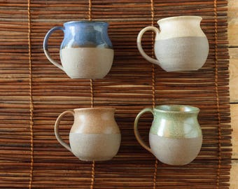Ready to ship, Ceramic Coffee Cup Set, Large Mug Set, 11 Oz Cup, Colorful Cup Set, Stoneware Rustic Tea Cup, Set Of 4, Comfortable Handle