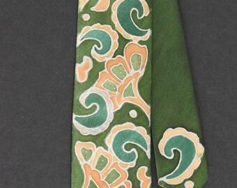 Skinny green tie, paisley green tie